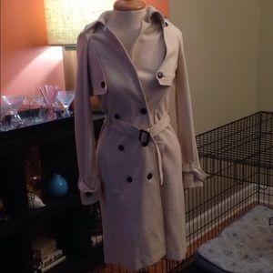 I heart Ronson cream trench jacket coat dress S